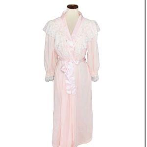 Vintage Donna Richard Pink Flannel Lace Robe